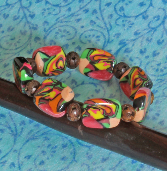Bead Bracelet -  Handmade Polymer Clay Beads - Colourful Tropical Vibes