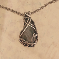 Silver Necklace - Agate Pendant -Handmade Woven Silver Necklace and Chain