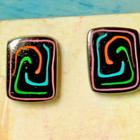 Ear Studs -Handmade Polymer Clay Tile Studs -Primitive Spiral Earrings