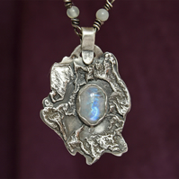 Silver Necklace - Rainbow Moonstone Pendant - Fused Silver Necklace & Jade Chain