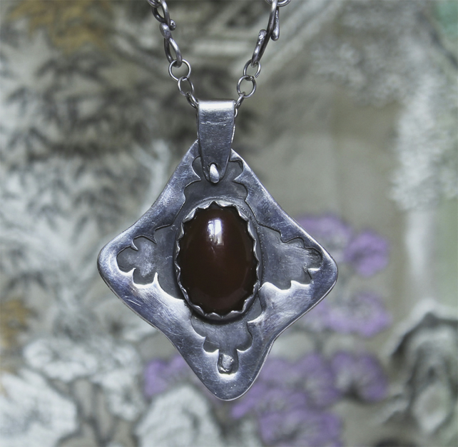 Silver Necklace  Handmade Carnelian Pendant - Viking  Style on Fancy Chain