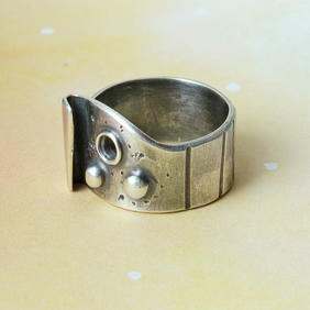 Silver Ring  - Handmade Textured Band  - Industrial - Modernist - Space Ring