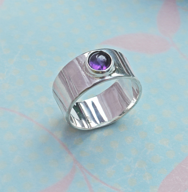 Silver Ring - Amethyst Ring - Handmade Silver Ring Modern Jewellery