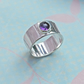 Modern Style Ring - Amethyst on Silver Band with Lines