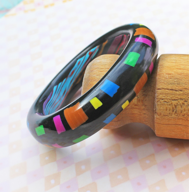 Chunky Bangle - Handmade Polymer Clay Bangle - Black Bangle