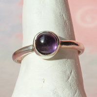 Silver Ring  - Amethyst Stacking Ring - Birthstone Ring -  Handmade To Order