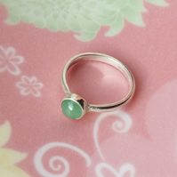 Silver Ring  - Green Aventurine Stacking Ring - Handmade To Order
