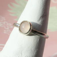 Silver Ring - Pink Quartz Stacking Ring - Handmade To Order - All Sizes