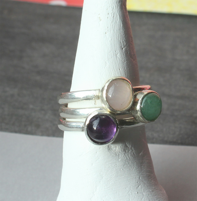 Silver Rings  3 Stacking silver gemstone rings -Handmade to order - all sizes
