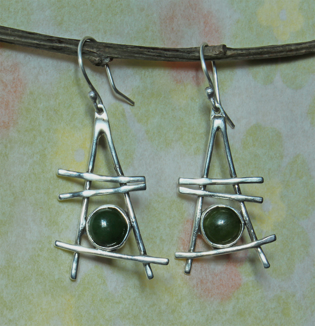 Silver Earrings with Jade - Modernist Designer Earrings - Industrial Style