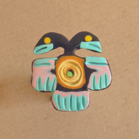 Polymer Clay Brooch - Aztec Bird Design - Two Heads Bird
