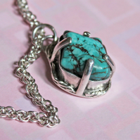 Turquoise on Silver Pendant Necklace - Norse Style - Spiral Coils Chain