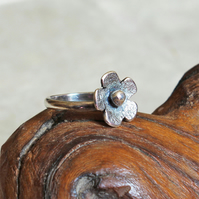 Silver Flower Band Ring - Sterling Silver- Stacking Ring - Made to Order