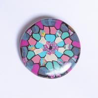 Delightful Colours Brooch - Polymer Clay Mandala Badge - Artisan - Handmade