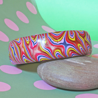 Bangle - Scarlets Dancing ! - Handmade - Retro Psychedelia Style - Polymer Clay