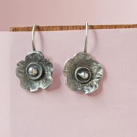 Silver Flower Earrings - Artisan Textured Petals of Silver Dangle Earrings