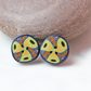 Ear Studs - Mosaic Colours - Handmade Polymer Clay Pattern Ear Studs
