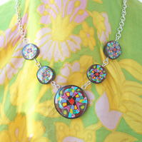 Mosaic Tile Silver Chain Necklace - Handmade Polymer Clay Unique Designer Piece