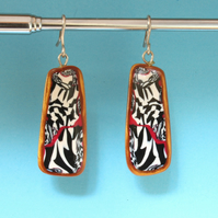 Retro Punk Style Dangle Earrings - Hand Crafted Patterned Tiles On Silver Hooks
