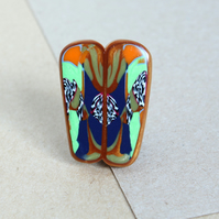 Art Deco Miniature Polymer Clay Brooch - Pin Badge - Unique and Unusual !.