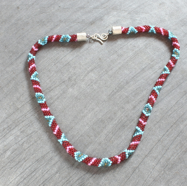 Bead Necklace - Peyote Stitch Woven Beads - Silver Caps