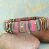 Artisan - Designer Chunky Bangle - Mauves and Carmines in Polymer Clay