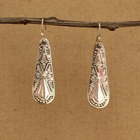Patterned Silver Plate Lozenge Drop Earrings - Up-Cycled Antique Spoon Handles