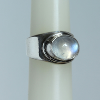 Silver Gemstone Ring - Designer Rainbow Moonstone Ring - Modern Classic Style