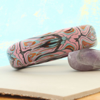 Artisan - Designer Chunky Bangle - Gothic Pinks in Polymer Clay