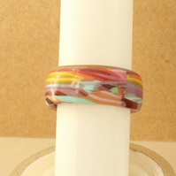 Multicoloured Polymer Clay Band Ring - Psychedelic - Abstract - Freeform Design
