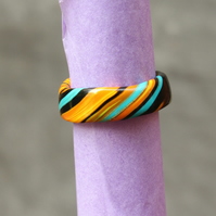 Dancing Colours - Designer Band Ring - Unique Polymer Clay Ring