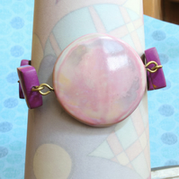 Peachy Pinks And Intricate Tiles Designer Bracelet