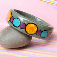 Gold, Turquoise, Amethyst Colours - Designer Chunky Bangle