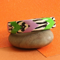 Designer Bangle - Lively Chevrons Handmade Polymer Clay Bangle