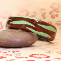 Designer Bangle - Curvey Interweave Pattern - Polymer Clay Chunky Bangle