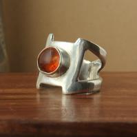 Silver Gemstone Ring - Amber on Silver - Designer Modern Geometric Style