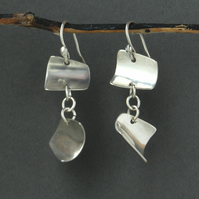 Silver Dangle Earrings - Curves of Silver - Unique - Designer - Artisan