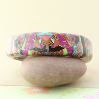 Designer Bangle - Abstract Pop Art Style in Rich Colours - Handmade - Unique