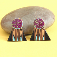 Hand Crafted Ear Studs - Modern Space Age Style