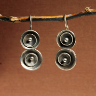 Silver Discs Designer Earrings - Handmade Artisan Dangle Earrings