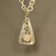 Designer Silver Pendant Necklace - Pink Quartz on Textured Silver
