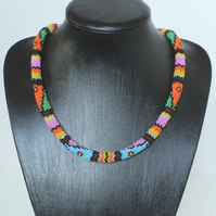 Dynamic Pattern Beadwork Necklace - Peyote Stitch Woven Beads - Silver Caps
