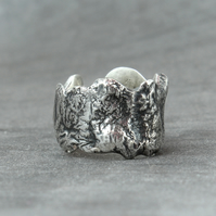Silver Band Ring - Unique Textured Sterling Band Ring - Womans Ring - Mans Ring