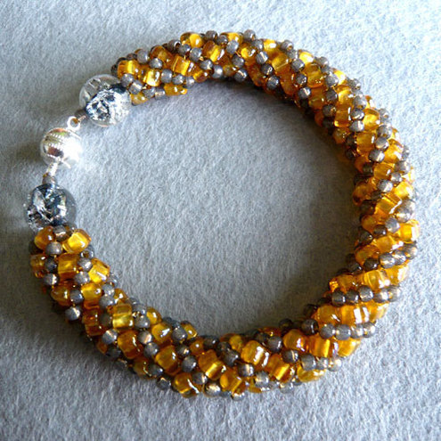 Gold and grey bracelet