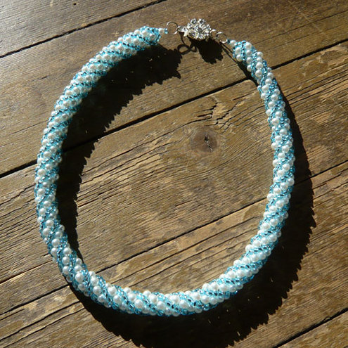 Blue an white spiral necklace