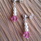 Freshwater pearl and pink Swarovski crystal wedding earrings