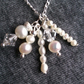 Freshwater pearl and Swarovski crystal cluster wedding necklace