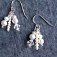 Freshwater pearl and sterling silver dangly cluster wedding earings