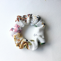 Good quality flower nature fabric hair scrunchies. Made in U.K