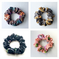 4 Pcs Good quality flower nature fabric hair scrunchies. Made in U.K